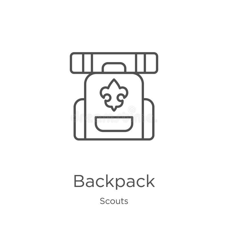 vector del icono de la mochila de la colección de los exploradores Línea fina ejemplo del vector del icono del esquema de la moch stock de ilustración