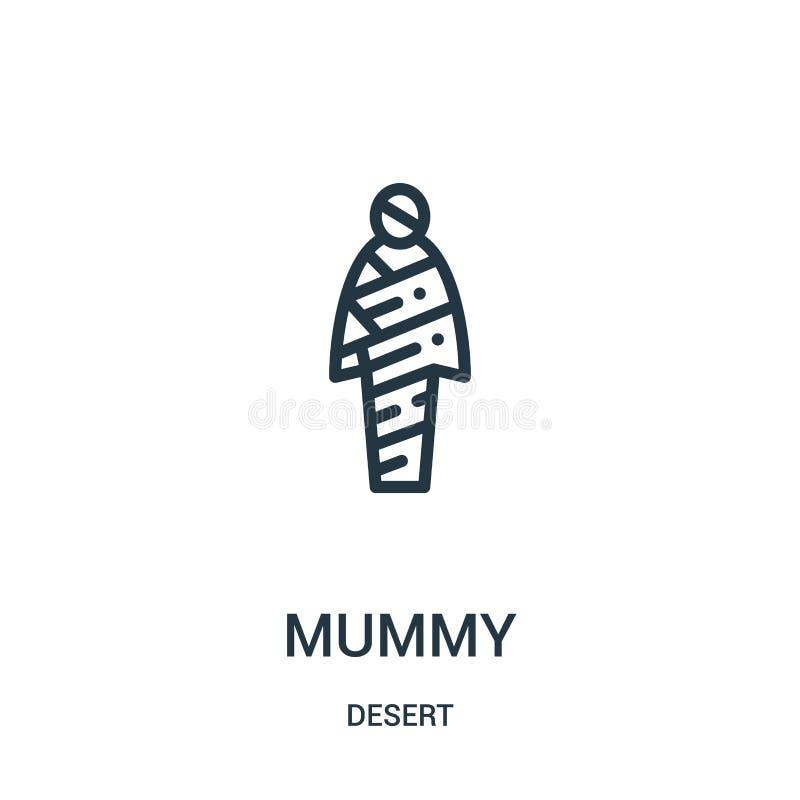 vector del icono de la momia de la colección del desierto Línea fina ejemplo del vector del icono del esquema de la momia Símbolo stock de ilustración
