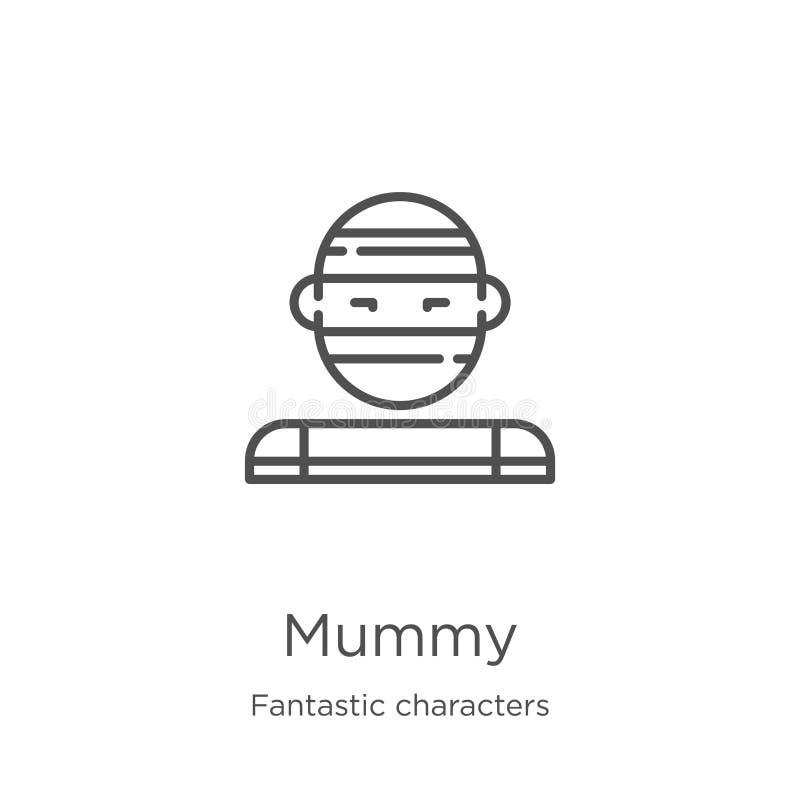 vector del icono de la momia de la colección fantástica de los caracteres Línea fina ejemplo del vector del icono del esquema de  libre illustration