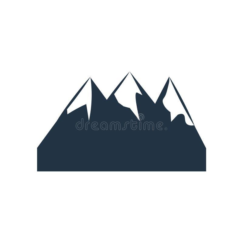 Vector del icono de la montaña aislado en el fondo blanco, muestra de la montaña stock de ilustración