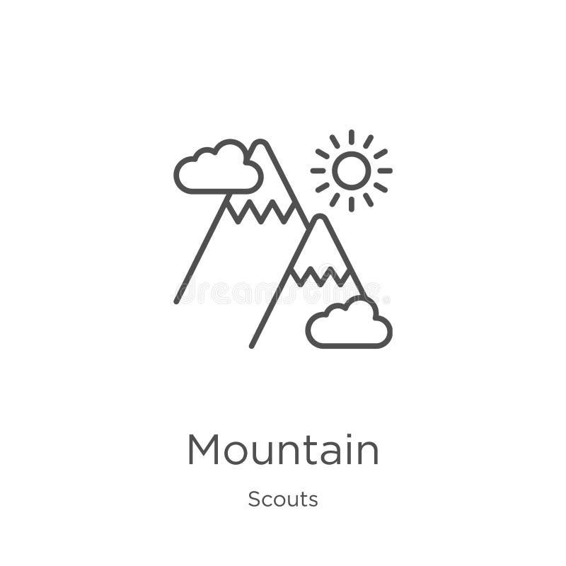 vector del icono de la montaña de la colección de los exploradores Línea fina ejemplo del vector del icono del esquema de la mont stock de ilustración