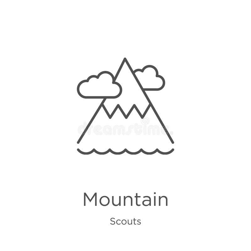vector del icono de la montaña de la colección de los exploradores Línea fina ejemplo del vector del icono del esquema de la mont libre illustration