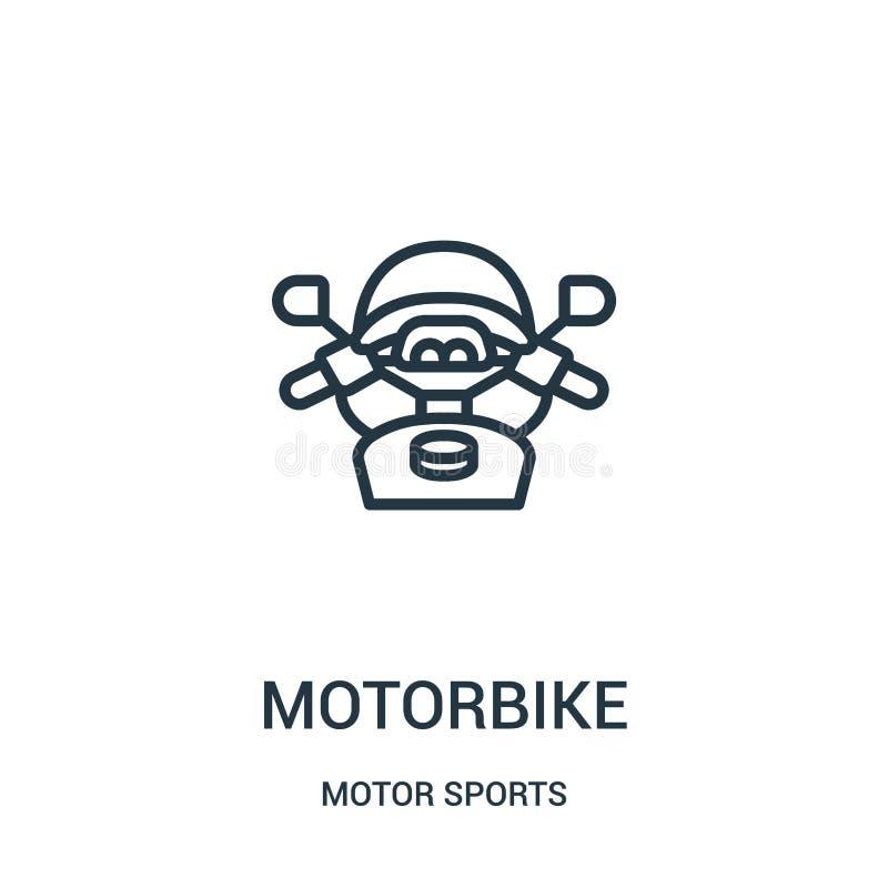 vector del icono de la moto de la colecci?n de los deportes de motor L?nea fina ejemplo del vector del icono del esquema de la mo libre illustration