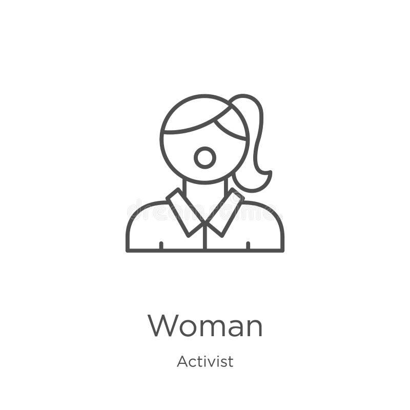 vector del icono de la mujer de la colección del activista Línea fina ejemplo del vector del icono del esquema de la mujer Esquem ilustración del vector
