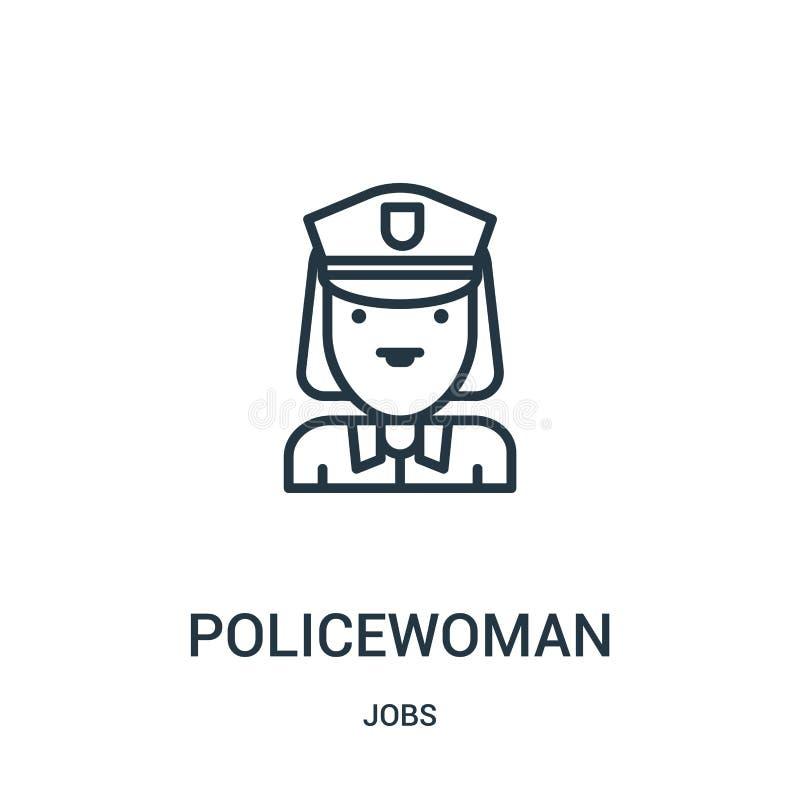 vector del icono de la mujer policía de la colección de los trabajos Línea fina ejemplo del vector del icono del esquema de la mu libre illustration