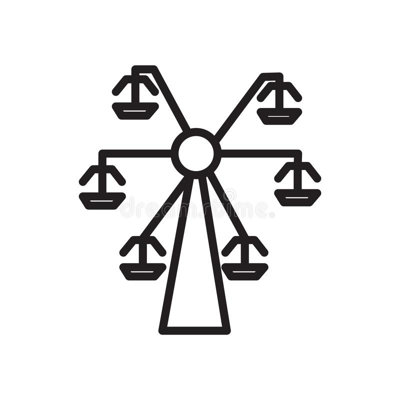 Vector del icono de la noria aislado en el fondo blanco, la muestra de la noria, el símbolo linear y elementos del diseño del mov ilustración del vector