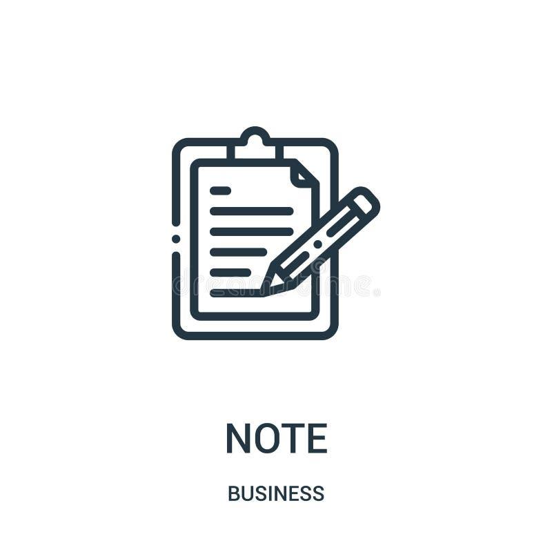 vector del icono de la nota de la colección del negocio L?nea fina ejemplo del vector del icono del esquema de la nota S?mbolo li ilustración del vector