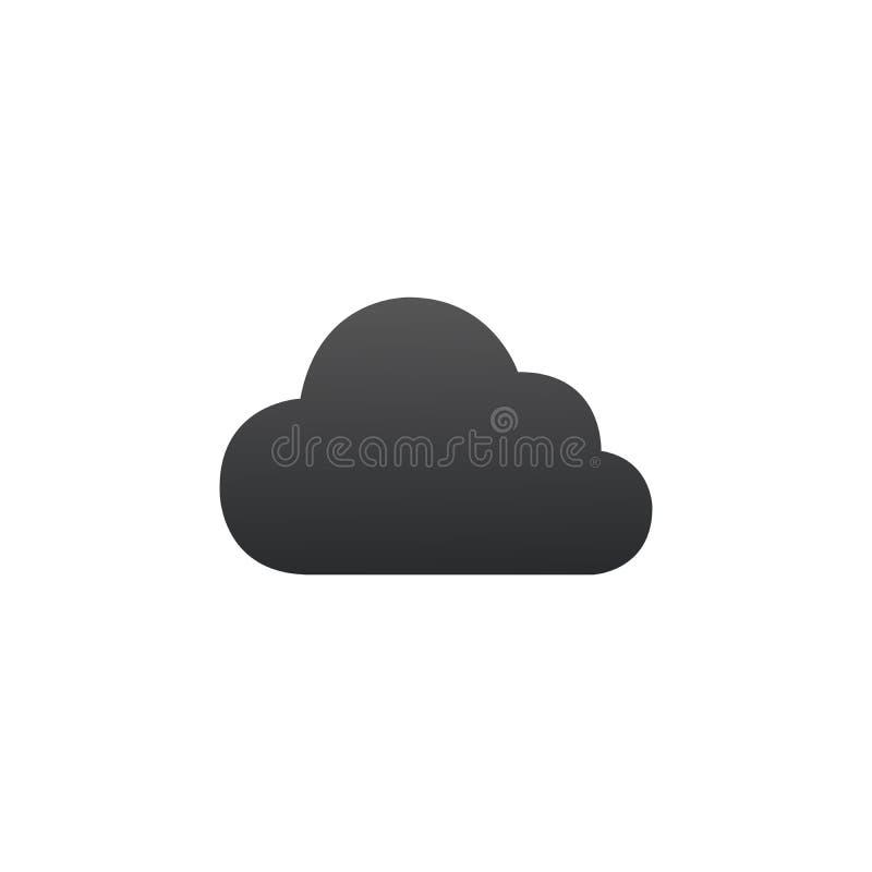 Vector del icono de la nube S?mbolo plano simple Ejemplo negro perfecto del pictograma en el fondo blanco ilustración del vector