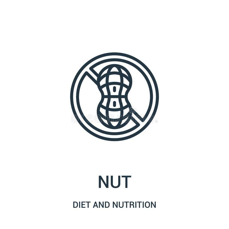 vector del icono de la nuez de la colección de la dieta y de la nutrición L?nea fina ejemplo del vector del icono del esquema de  ilustración del vector