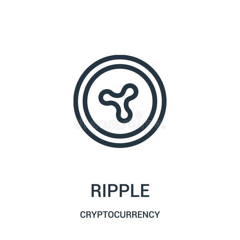 vector del icono de la ondulación de la colección del cryptocurrency Línea fina ejemplo del vector del icono del esquema de la on stock de ilustración