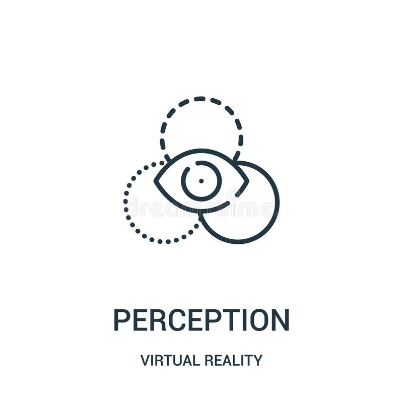 vector del icono de la opinión de la colección de la realidad virtual Línea fina ejemplo del vector del icono del esquema de la o libre illustration