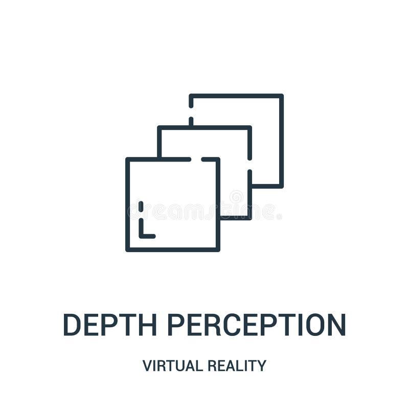vector del icono de la opinión de profundidad de la colección de la realidad virtual Línea fina ejemplo del vector del icono del  stock de ilustración