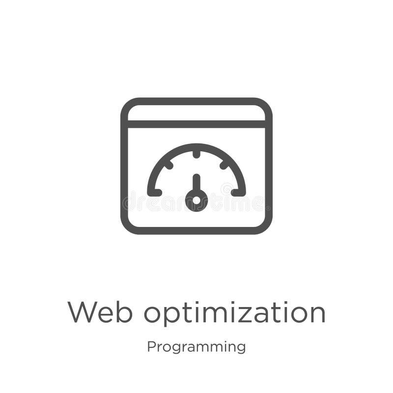 vector del icono de la optimización de la web de la colección programada Línea fina ejemplo del vector del icono del esquema de l stock de ilustración