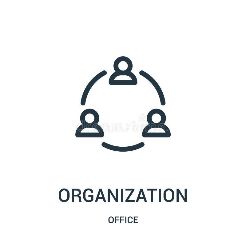 vector del icono de la organización de la colección de la oficina L?nea fina ejemplo del vector del icono del esquema de la organ stock de ilustración