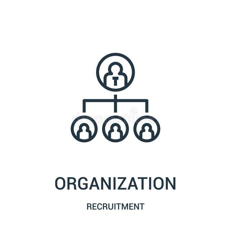 vector del icono de la organización de la colección del reclutamiento L?nea fina ejemplo del vector del icono del esquema de la o libre illustration