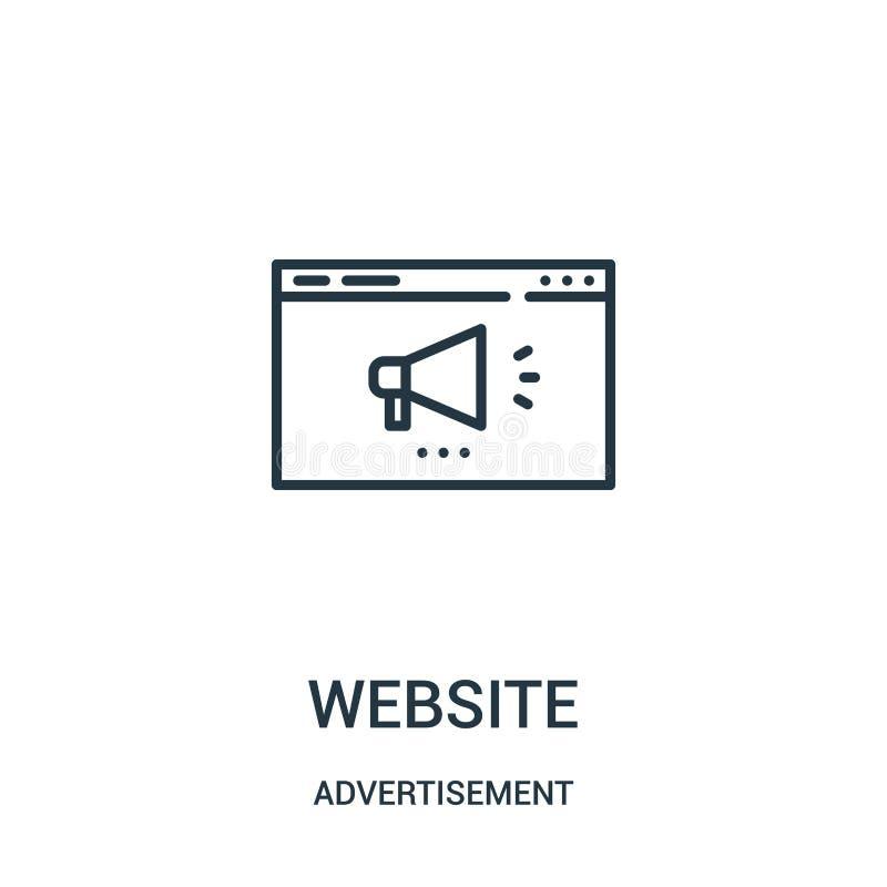 vector del icono de la página web de la colección del anuncio Línea fina ejemplo del vector del icono del esquema de la página we stock de ilustración