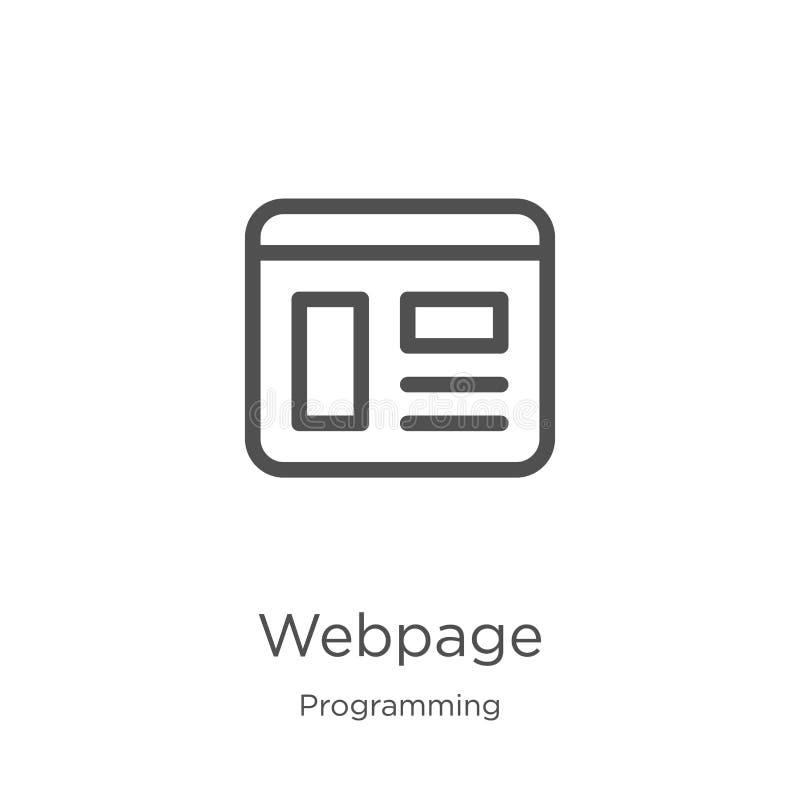 vector del icono de la página web de la colección programada Línea fina ejemplo del vector del icono del esquema de la página web libre illustration