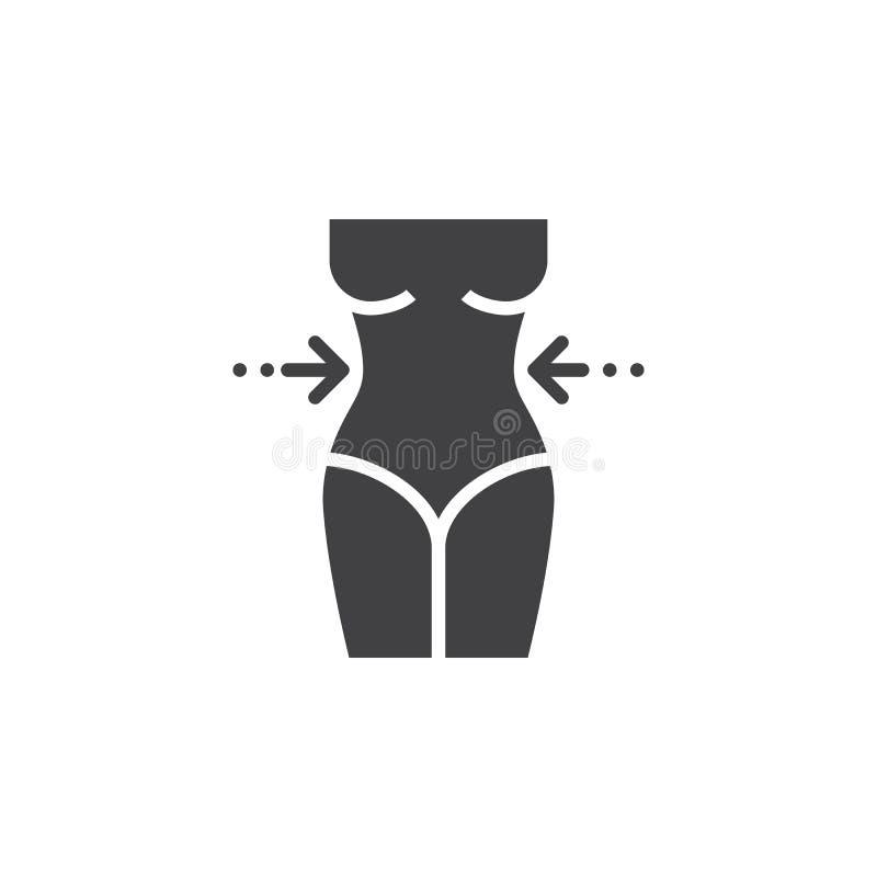Vector del icono de la pérdida de peso, muestra plana sólida de la cintura del ` s de la mujer, pictograma aislado en blanco ilustración del vector