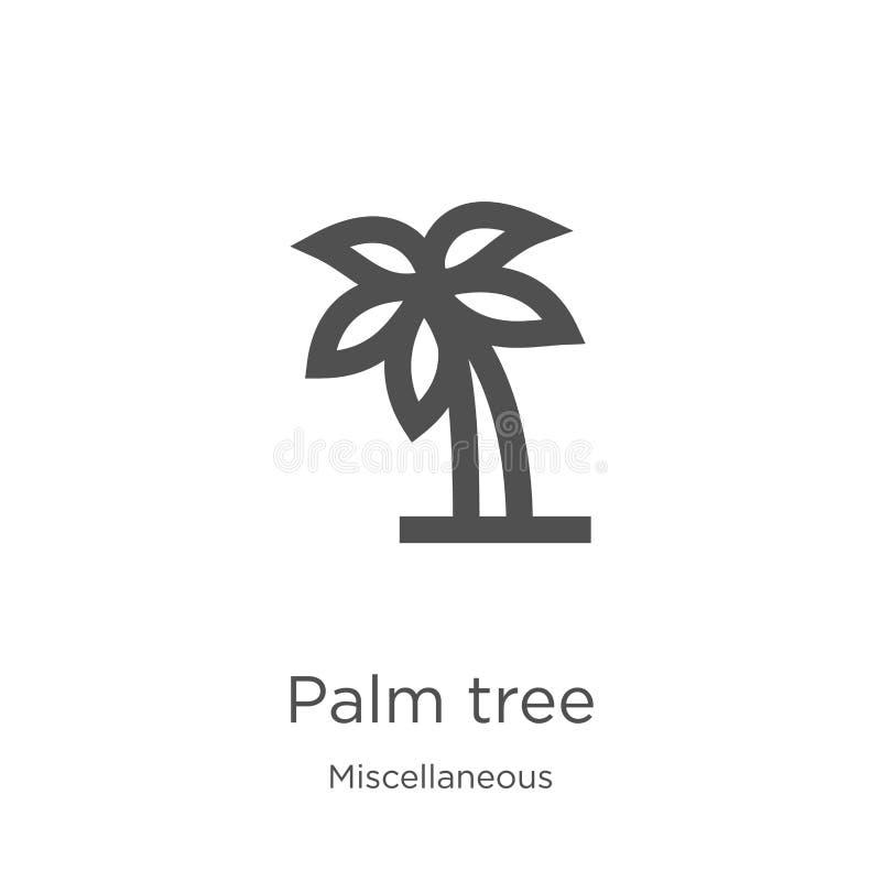 vector del icono de la palmera de la colección diversa L?nea fina ejemplo del vector del icono del esquema de la palmera Esquema, ilustración del vector