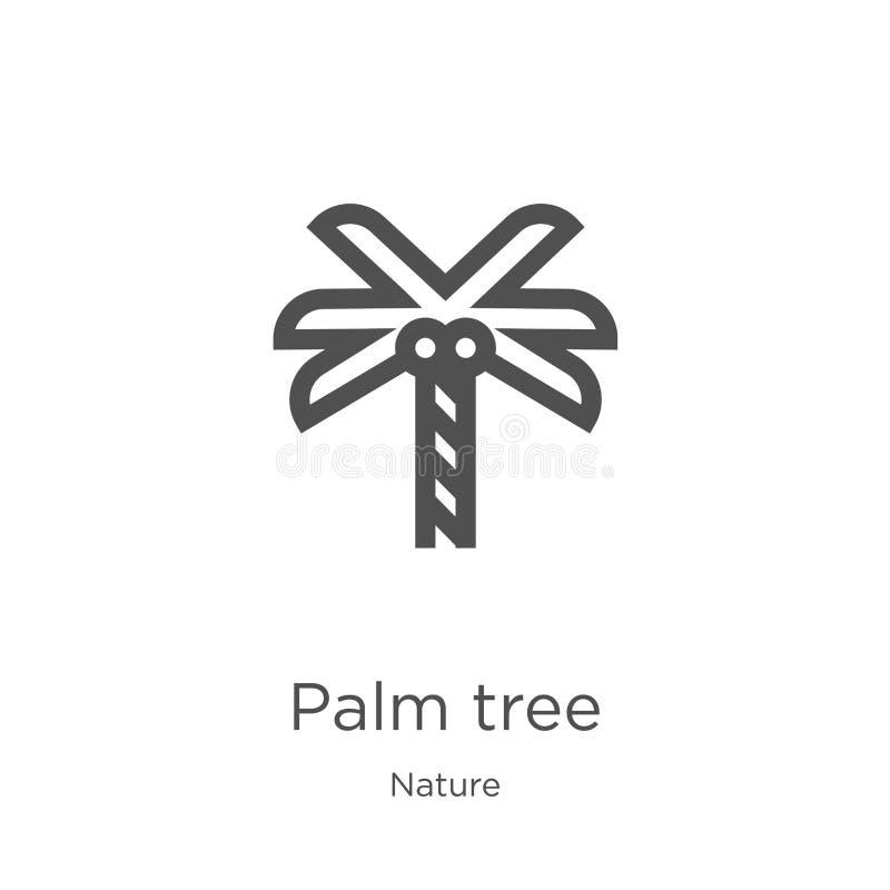 vector del icono de la palmera de la colección de la naturaleza L?nea fina ejemplo del vector del icono del esquema de la palmera stock de ilustración