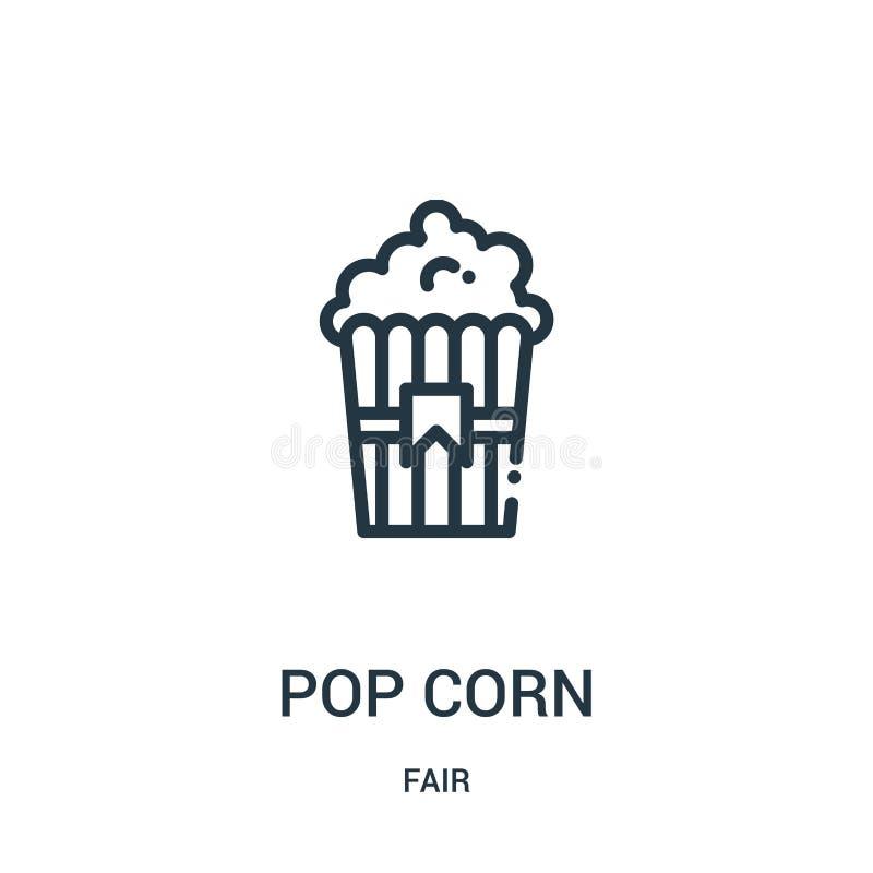 vector del icono de la palomitas de maíz de la colección justa Línea fina ejemplo del vector del icono del esquema de la palomita ilustración del vector