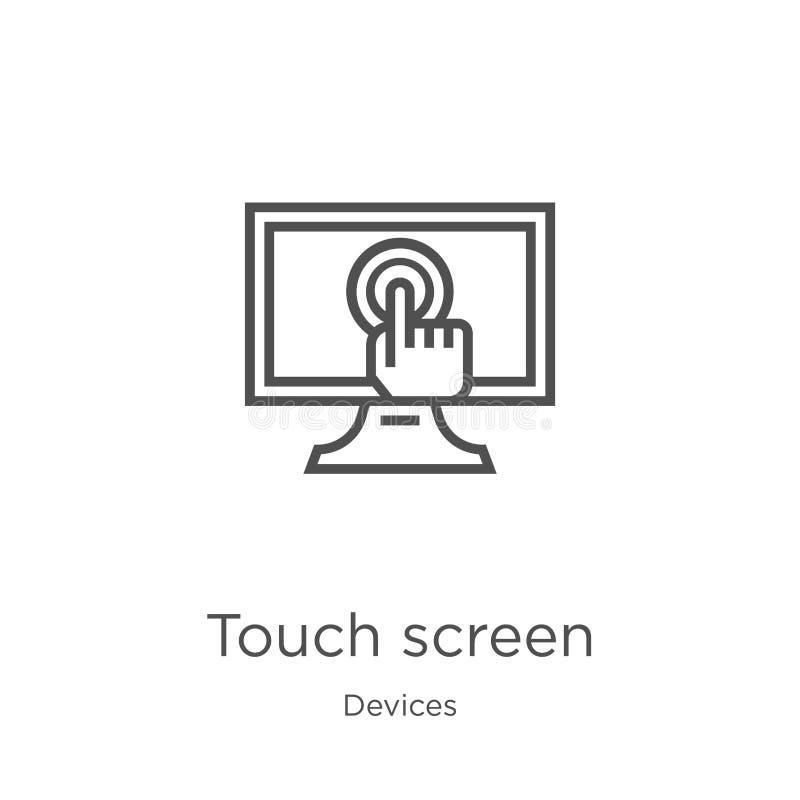 vector del icono de la pantalla táctil de la colección de los dispositivos Línea fina ejemplo del vector del icono del esquema de stock de ilustración