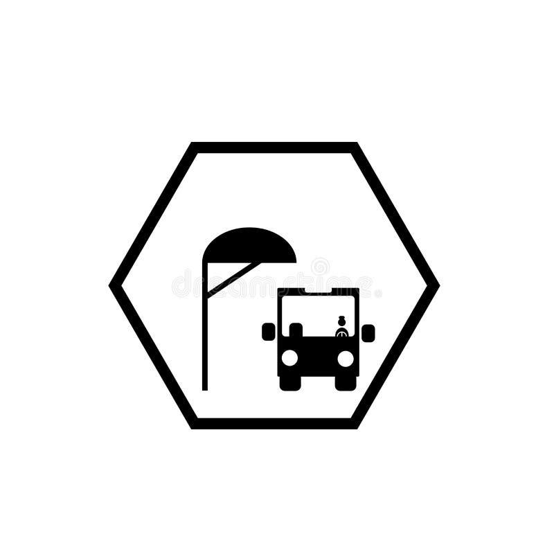 Vector del icono de la parada de autobús del escolar aislado en el fondo blanco, muestra de la parada de autobús del escolar ilustración del vector