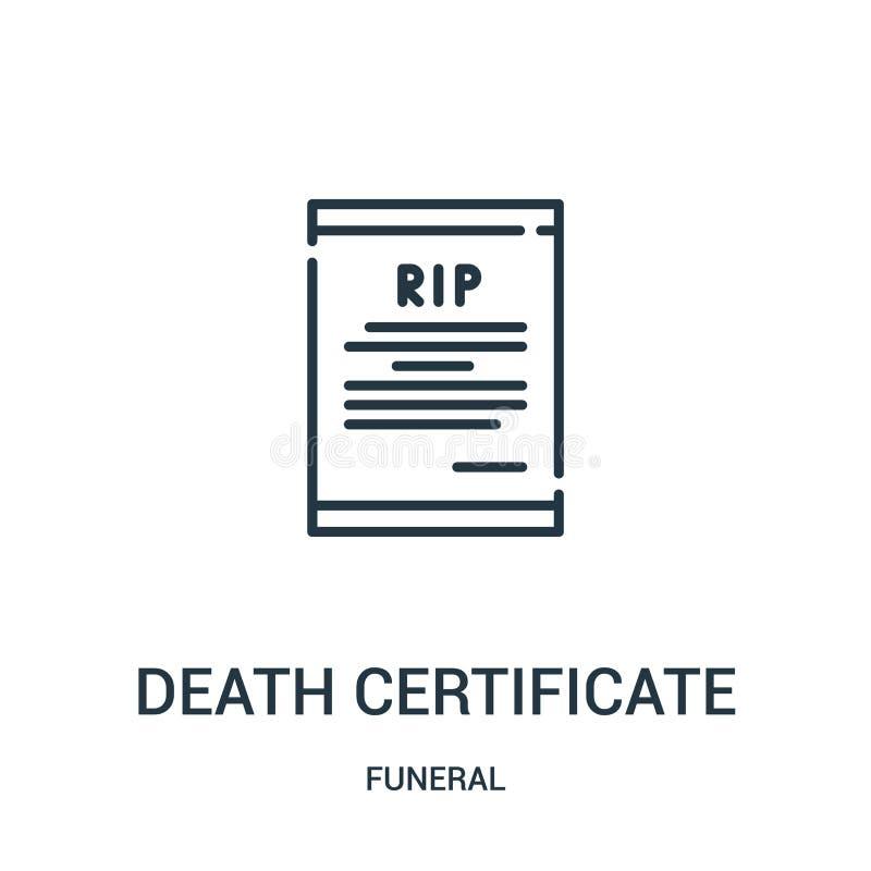 vector del icono de la partida de defunción de la colección fúnebre Línea fina ejemplo del vector del icono del esquema de la par ilustración del vector
