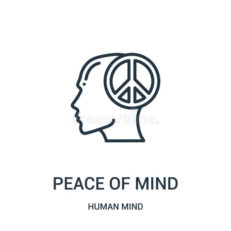 vector del icono de la paz interior de la colección de la mente humana Línea fina ejemplo del vector del icono del esquema de la  ilustración del vector