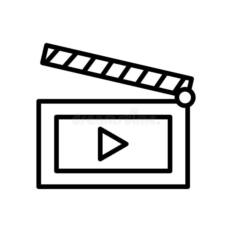 Vector del icono de la película aislado en el fondo, la muestra de la película, la línea y los elementos blancos del esquema en e stock de ilustración