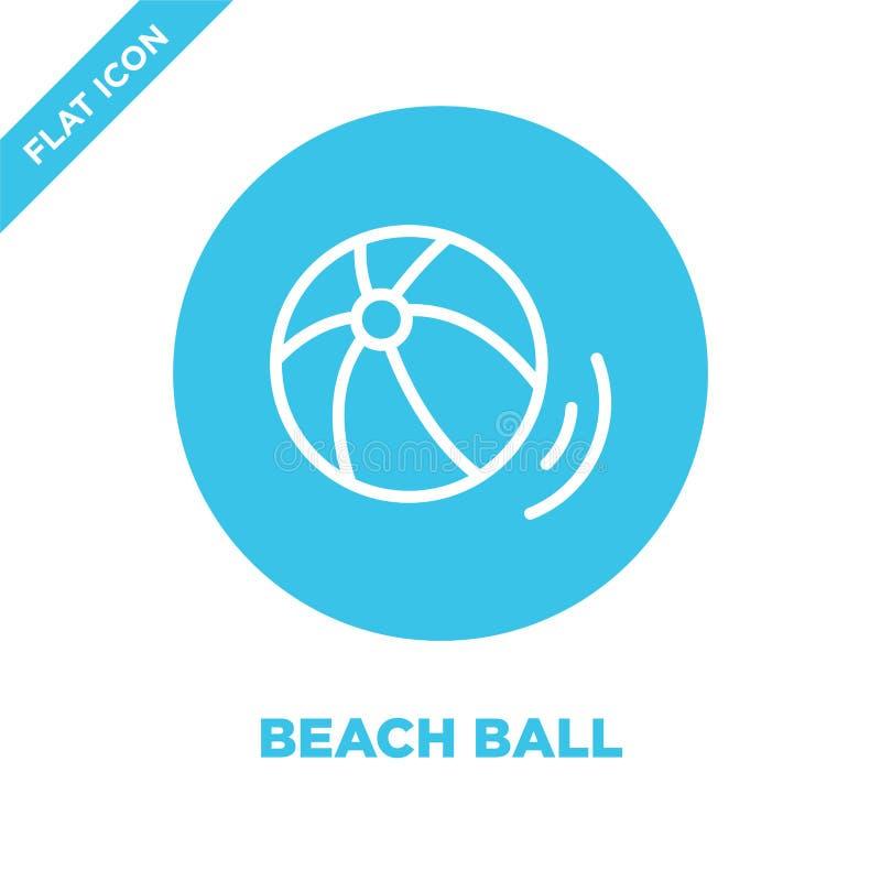 vector del icono de la pelota de playa de la colección de las estaciones Línea fina ejemplo del vector del icono del esquema de l libre illustration
