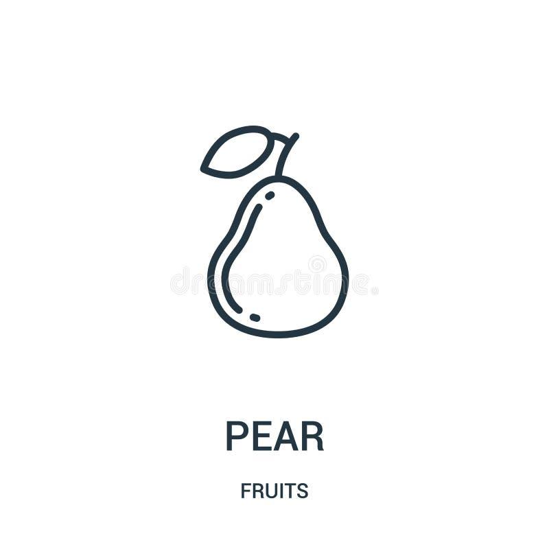 vector del icono de la pera de la colección de las frutas Línea fina ejemplo del vector del icono del esquema de la pera Símbolo  ilustración del vector