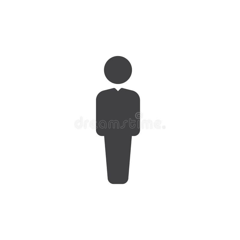 Vector del icono de la persona, muestra plana llenada, pictograma sólido aislado en blanco Símbolo del usuario, ejemplo del logot stock de ilustración