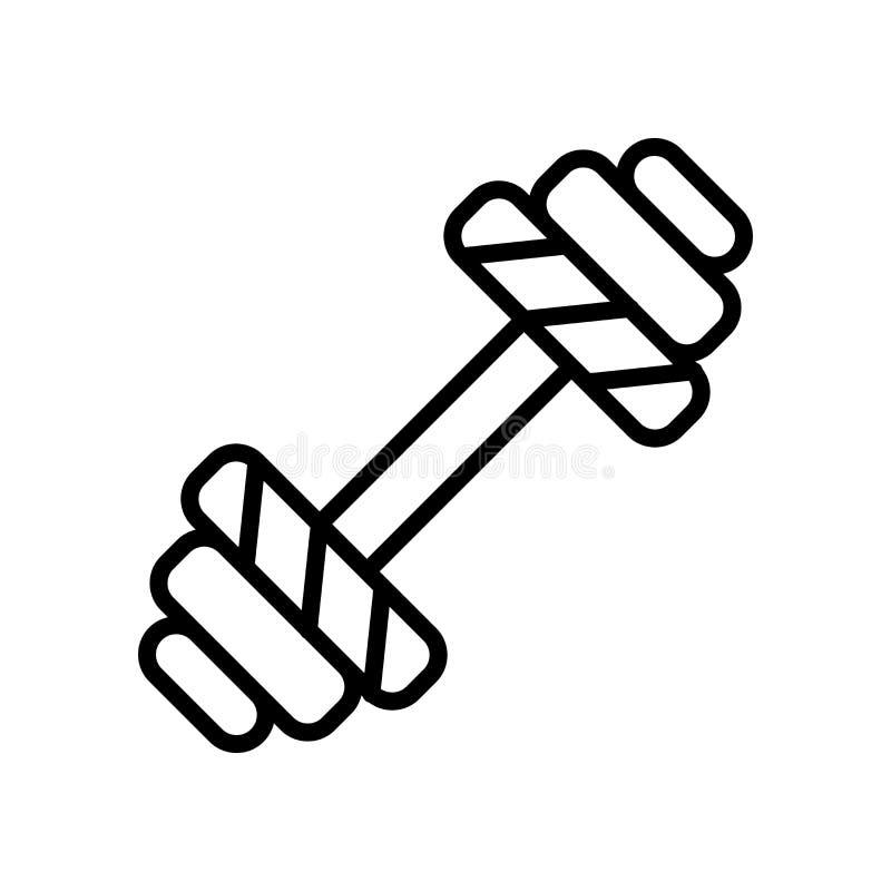 Vector del icono de la pesa de gimnasia aislado en el fondo, la muestra de la pesa de gimnasia, la línea y los elementos blancos  stock de ilustración
