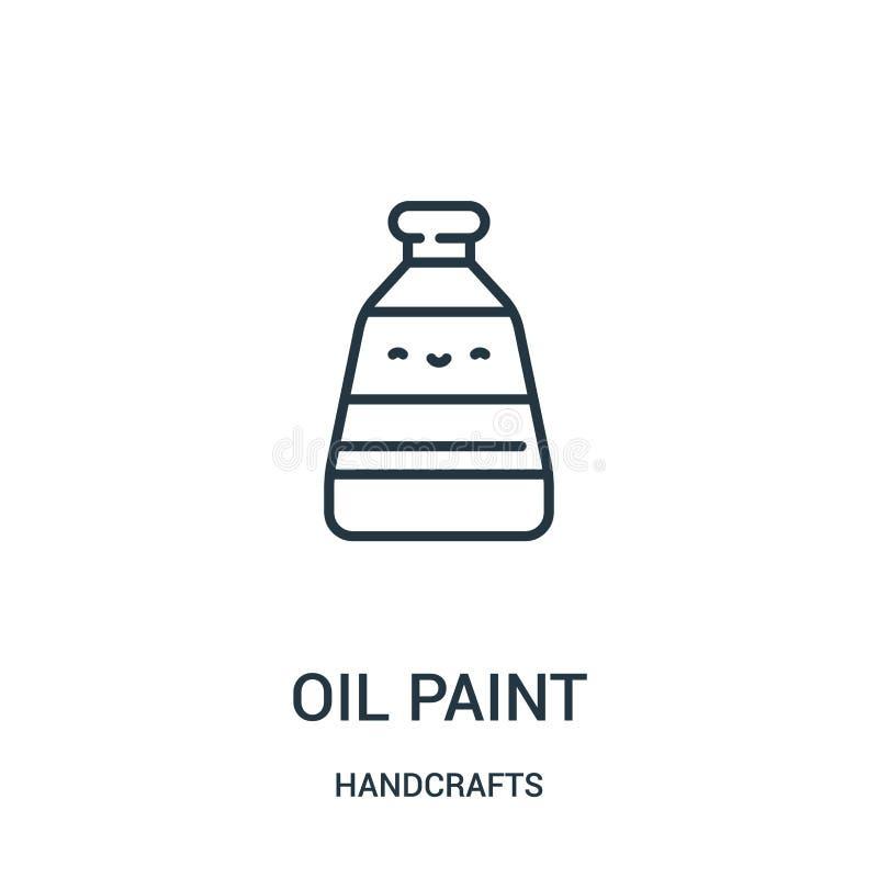 vector del icono de la pintura de aceite de la colección de las artesanías Línea fina ejemplo del vector del icono del esquema de stock de ilustración