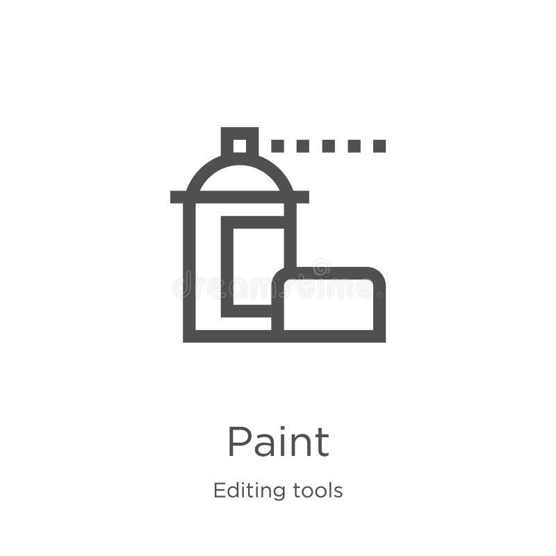 vector del icono de la pintura de corregir la colección de las herramientas Línea fina ejemplo del vector del icono del esquema d ilustración del vector