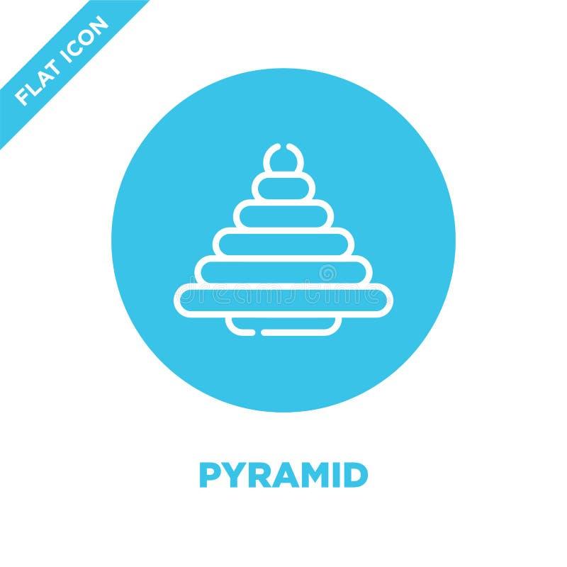 vector del icono de la pirámide de la colección de los juguetes del bebé Línea fina ejemplo del vector del icono del esquema de l libre illustration