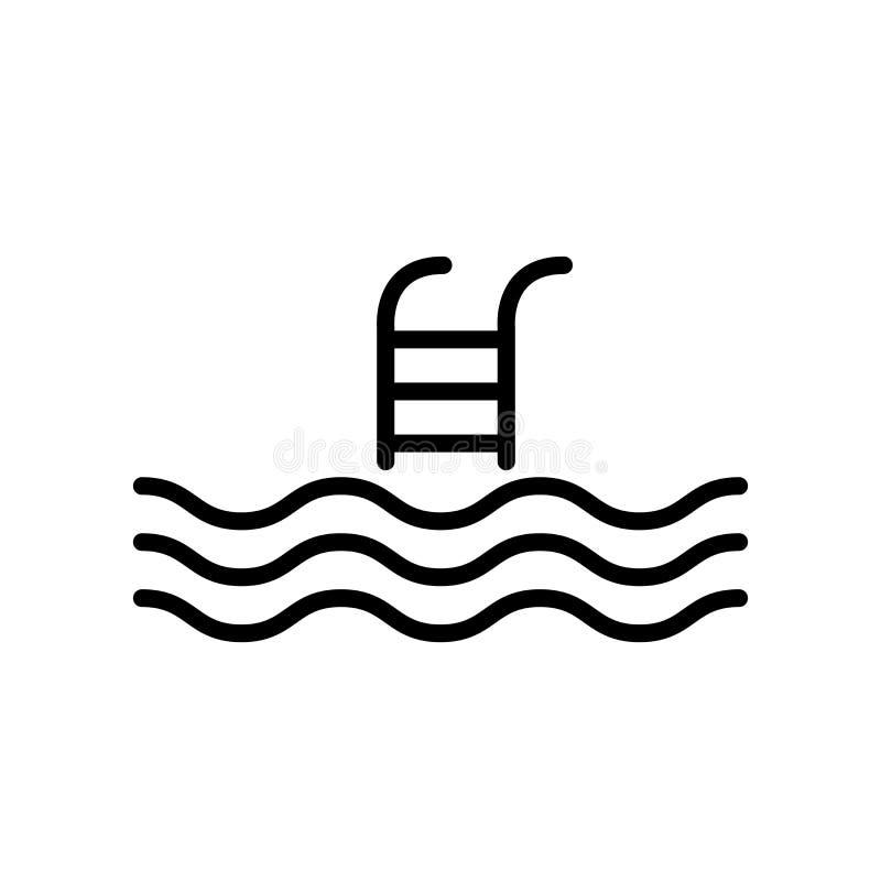Vector del icono de la piscina aislado en la muestra blanca del fondo, de la piscina, la línea y elementos del esquema en estilo  libre illustration