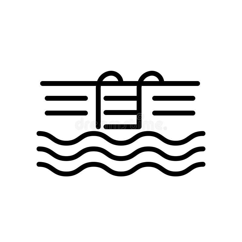 Vector del icono de la piscina aislado en la muestra blanca del fondo, de la piscina, la línea y elementos del esquema en estilo  ilustración del vector