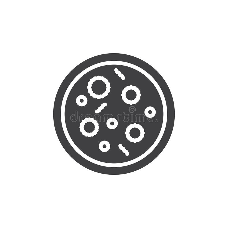 Vector del icono de la placa de Petri, muestra plana llenada, pictograma sólido aislado en blanco ilustración del vector