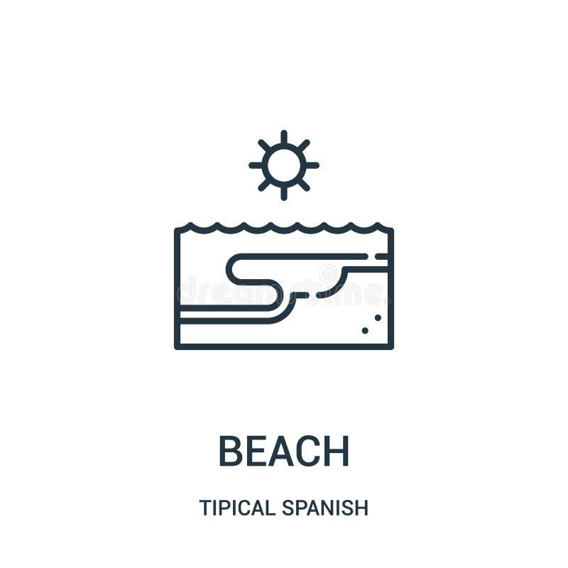 vector del icono de la playa de la colección española tipical Línea fina ejemplo del vector del icono del esquema de la playa Sím ilustración del vector