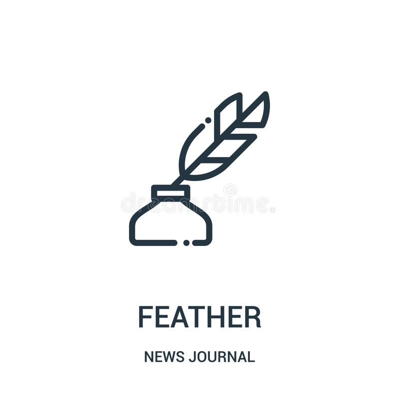 vector del icono de la pluma de la colección del diario de las noticias Línea fina ejemplo del vector del icono del esquema de la ilustración del vector