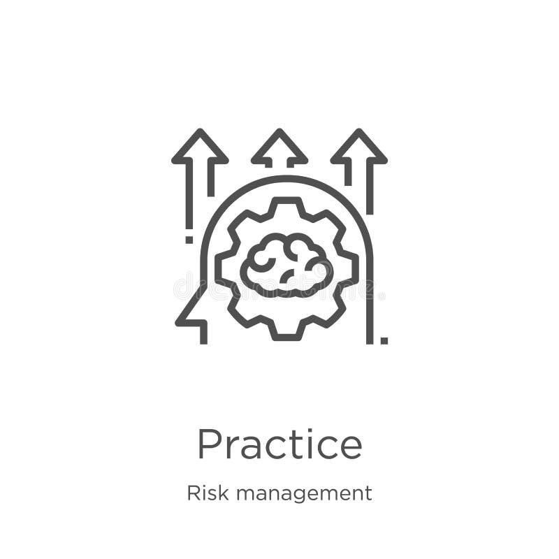 vector del icono de la práctica de la colección de la gestión de riesgos Línea fina ejemplo del vector del icono del esquema de l stock de ilustración