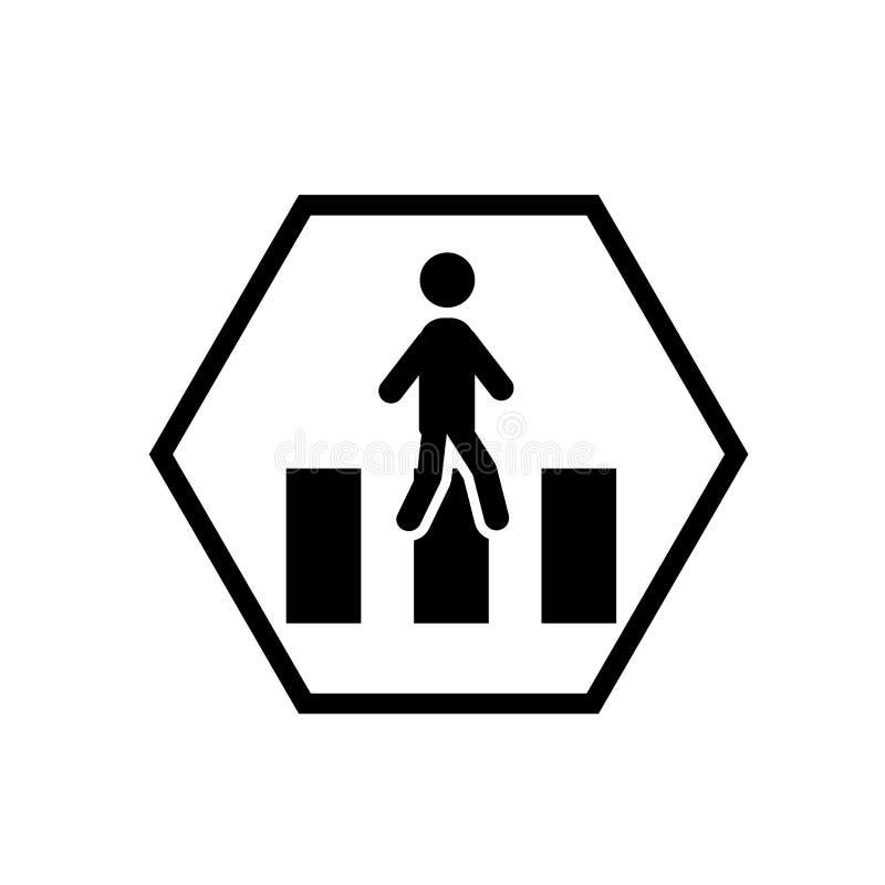 Vector del icono de la precaución del camino que cruza aislado en el fondo blanco, muestra de la precaución del camino que cruza stock de ilustración