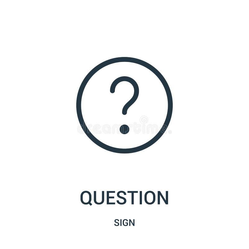 vector del icono de la pregunta de la colección de la muestra Línea fina ejemplo del vector del icono del esquema de la pregunta stock de ilustración