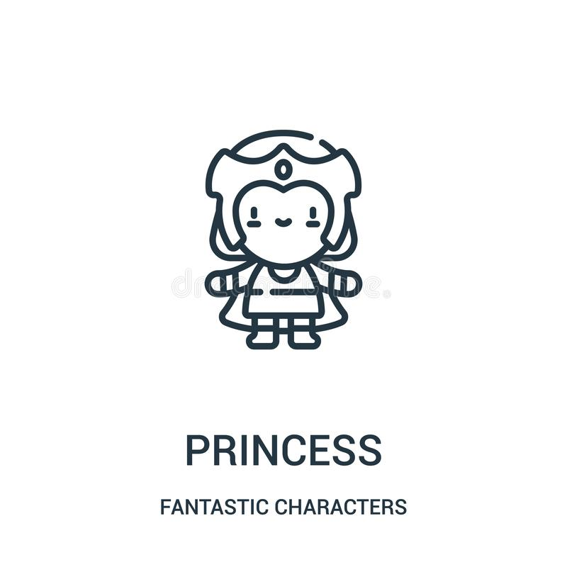 vector del icono de la princesa de la colecci?n fant?stica de los caracteres L?nea fina ejemplo del vector del icono del esquema  stock de ilustración