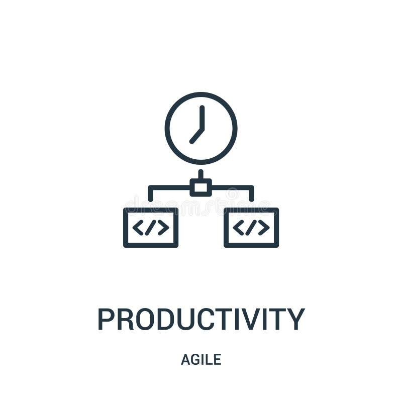 vector del icono de la productividad de la colección ágil Línea fina ejemplo del vector del icono del esquema de la productividad stock de ilustración