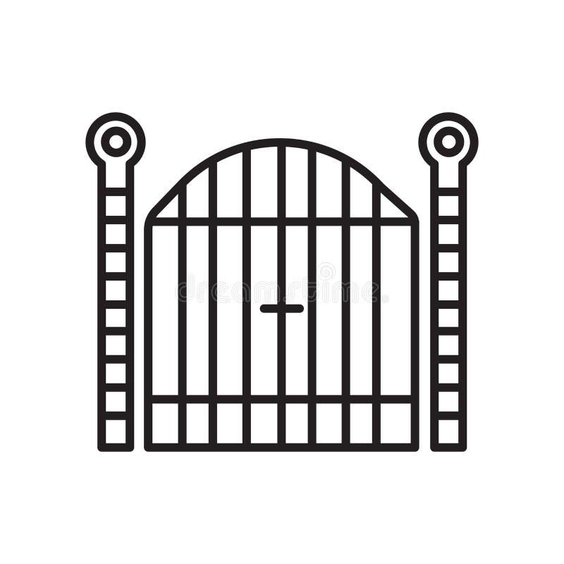 Vector del icono de la puerta aislado en el fondo, la muestra de la puerta, la muestra y los símbolos blancos en estilo linear fi stock de ilustración