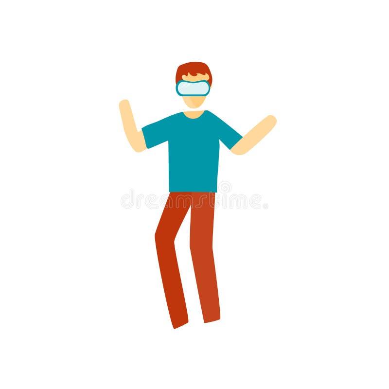 Vector del icono de la realidad virtual aislado en el fondo blanco, la muestra de la realidad virtual, colocándose personaje de d ilustración del vector