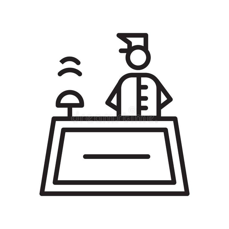Vector del icono de la recepción aislado en el fondo blanco, la muestra de la recepción, el símbolo linear y elementos del diseño libre illustration